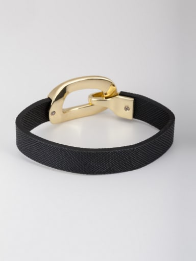 Black Bangle with Gold Plated PU