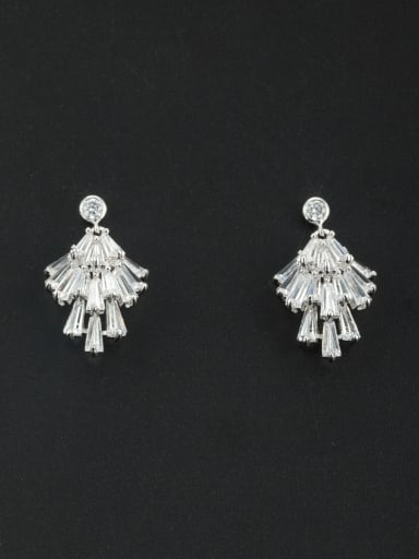 New design Platinum Plated Personalized Zircon Studs stud Earring in White color