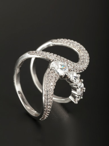 Personalized Platinum Plated Copper White Diamond Ring 6#-9#