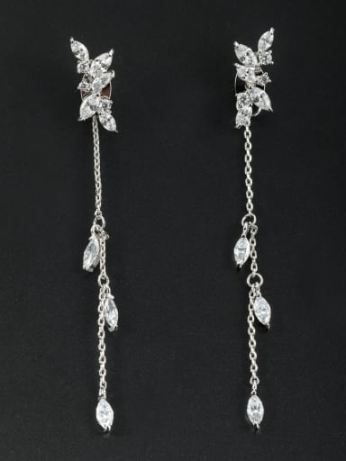 chain style with Platinum Plated Zircon Drop drop Earring