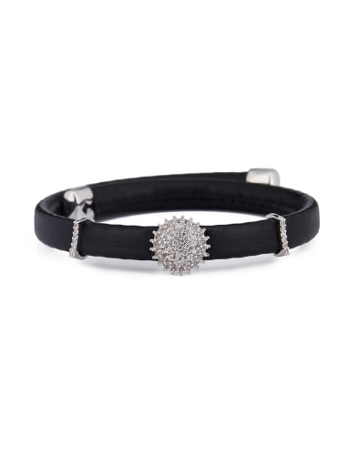New design Platinum Plated PU Round Choker in Silver color