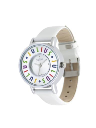 Fashion White Alloy Japanese Quartz Round Genuine Leather Women's Watch 24-27.5mm