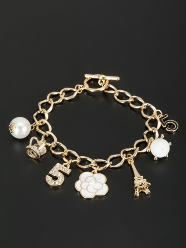 Gold Plated Flower White Zircon Beautiful Bracelet