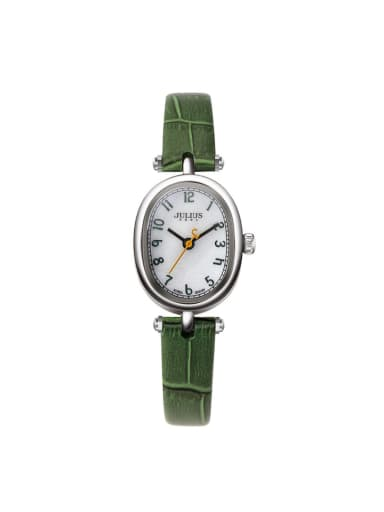 Fashion Green Alloy Japanese Quartz Oval Genuine Leather Women's Watch 24-27.5mm