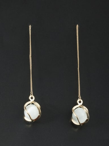 Custom White Geometric Drop drop Earring with Gold Plated
