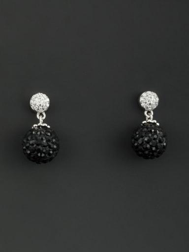 Model No TM64107 Blacksmith Made Platinum Plated Rhinestone Round Drop drop Earring