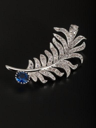 Platinum Plated Feather Zircon Lapel Pins & Brooche