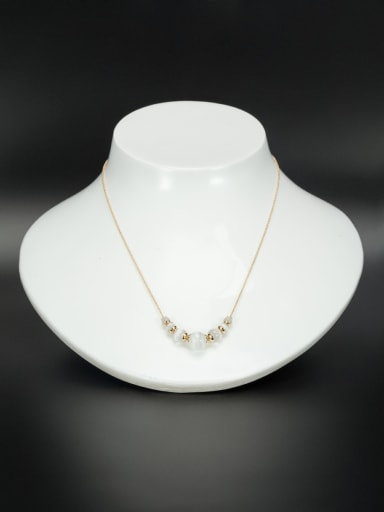 Gold Plated Charm Beads White Necklace