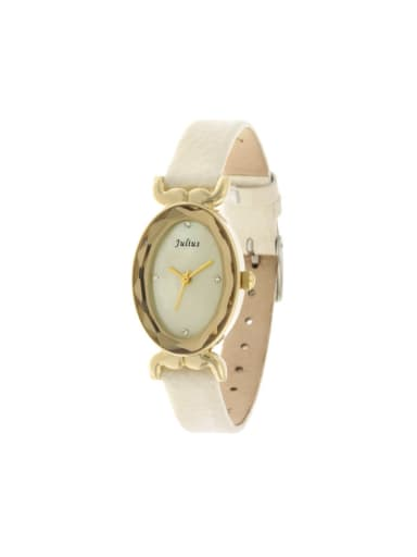 Fashion Beige Alloy Japanese Quartz Oval Genuine Leather Women's Watch 23.5mm & Under