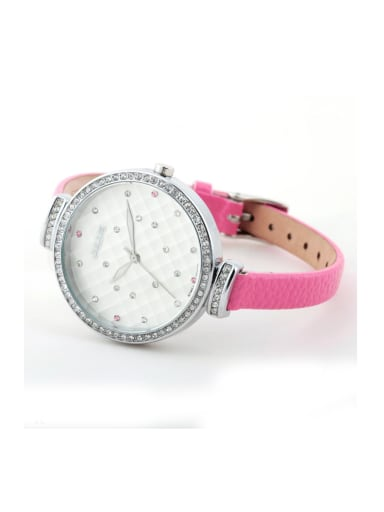 Model No A000479W-002 Fashion Pink Alloy Japanese Quartz Round Genuine Leather Women's Watch 24-27.5mm