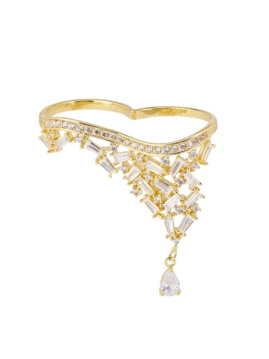 The new Gold Plated Zinc Alloy Zircon Statement Stacking Statement Ring with Gold