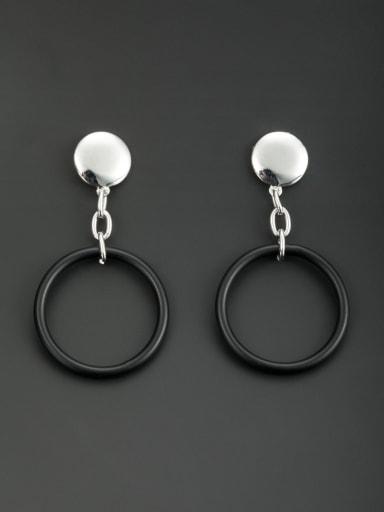 Blacksmith Made Platinum Plated Round Drop drop Earring