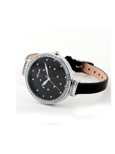 Model No 1000003306 24-27.5mm size Alloy Round style Genuine Leather Women's Watch