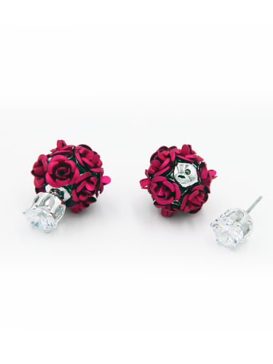 New design Copper Flower Zircon Drop drop Earring in Fuchsia color