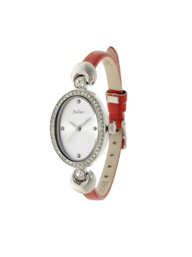 Fashion Red Alloy Japanese Quartz Oval Genuine Leather Women's Watch 23.5mm & Under