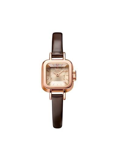 Model No A000454W-001 Fashion Wine Alloy Japanese Quartz Square Genuine Leather Women's Watch 24-27.5mm