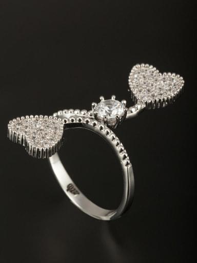 Platinum Plated Copper Heart White Zircon Beautiful Ring