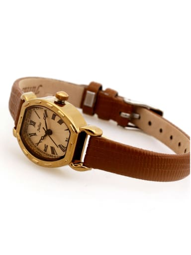 Fashion Brown Alloy Japanese Quartz Square Genuine Leather Women's Watch 24-27.5mm