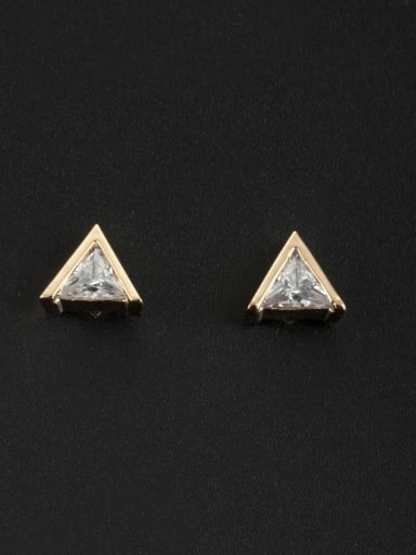 White Triangle Studs stud Earring with Gold Plated Zircon