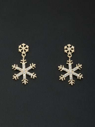 White color Gold Plated Zircon Drop drop Earring