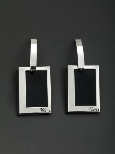 Platinum plated Square Drop drop Earring