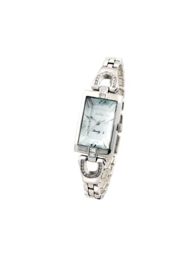 Fashion White Alloy Japanese Quartz Square Alloy Women's Watch 24-27.5mm