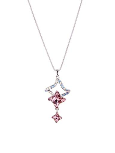 Star Zinc Alloy Swarovski Crystals Pink Necklac