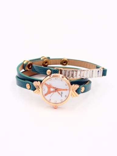 Fashion Green Alloy Quartz Round Faux Leather Women's Watch 24-27.5mm
