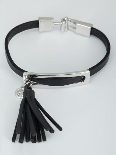 Personalized Platinum Plated  Bracelet Black Leather tassels