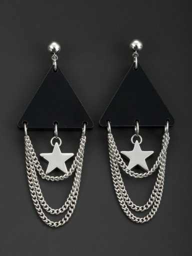Platinum Plated Star Black Acrylic Beautiful Drop drop Earring