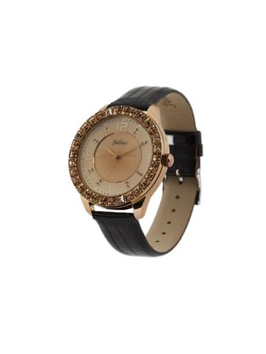 Fashion Black Alloy Japanese Quartz Round Genuine Leather Women's Watch 40-43.5mm