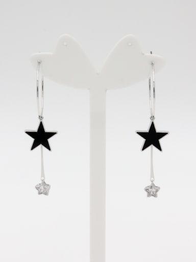 Model No LYE400062B Platinum Plated Star Zircon Drop hoop Earring