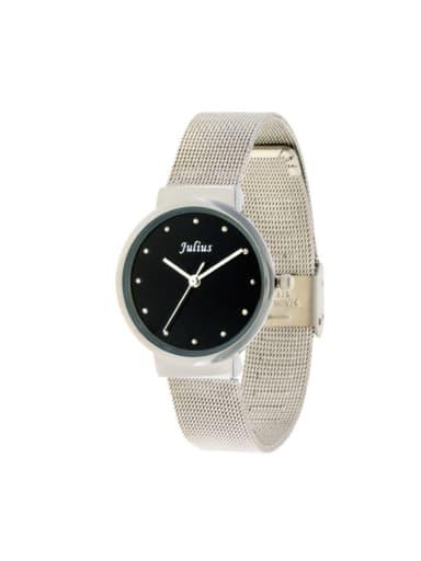 Model No A000477W-001 Fashion White Alloy Japanese Quartz Round Alloy Women's Watch 28-31.5mm