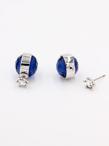 Round Platinum Plated Swarovski Crystals Navy Studs stud Earring