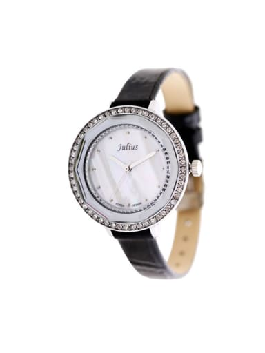 Fashion Black Alloy Japanese Quartz Round Genuine Leather Women's Watch 24-27.5mm