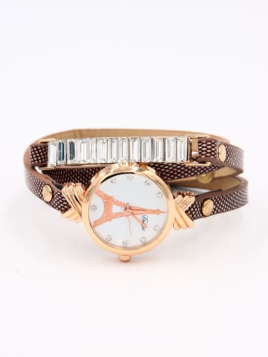 Model No A0000436W-002 Fashion Brown Alloy Quartz Round Faux Leather Women's Watch 24-27.5mm