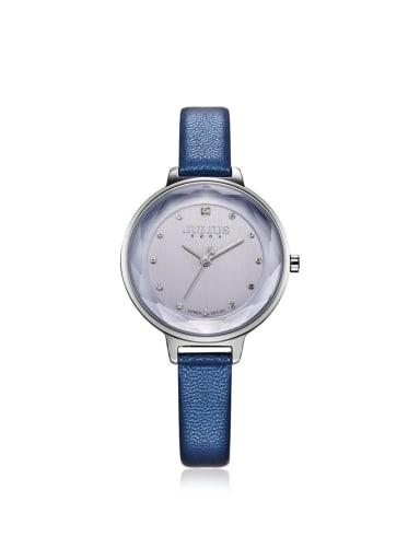 Fashion Brown Alloy Japanese Quartz Round Genuine Leather Women's Watch 24-27.5mm