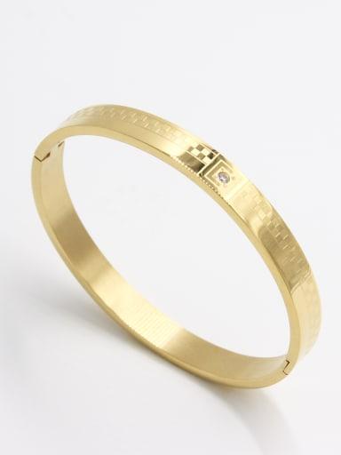 Stainless steel  Zircon Gold Bangle   63MMX55MM