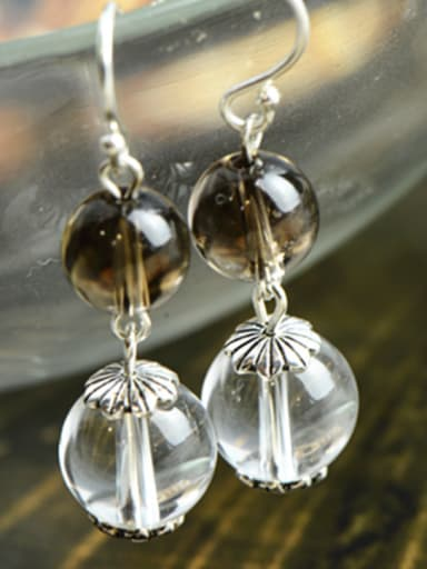 A Silver Stylish  Drop drop Earring Of Round