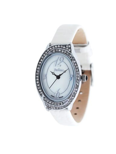 Women 's White Women's Watch Japanese Quartz Oval with 24-27.5mm