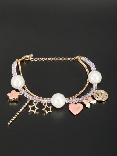New design Gold Plated Butterfly Beads Bracelet in White color