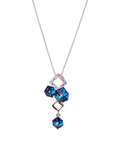 Personalized Platinum Plated Zinc Alloy Geometric Swarovski Crystals Necklac