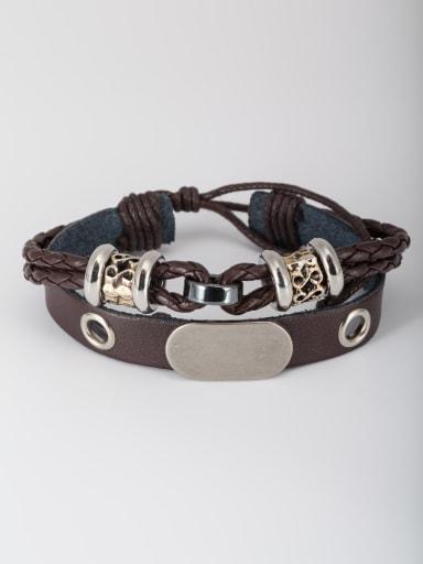 Brown color Platinum Plated PU Beads Bangle