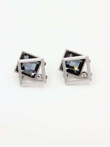 Personalized Copper Grey Geometric Swarovski Crystals Studs stud Earring