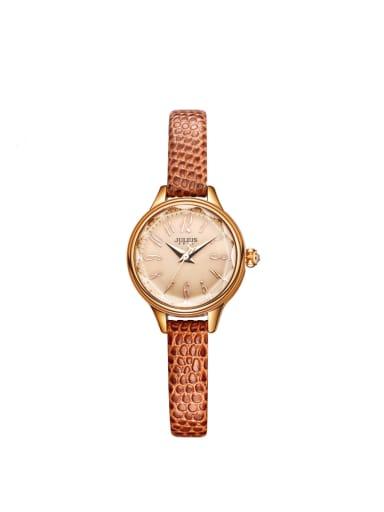 Fashion Orange Alloy Japanese Quartz Round Genuine Leather Women's Watch 24-27.5mm