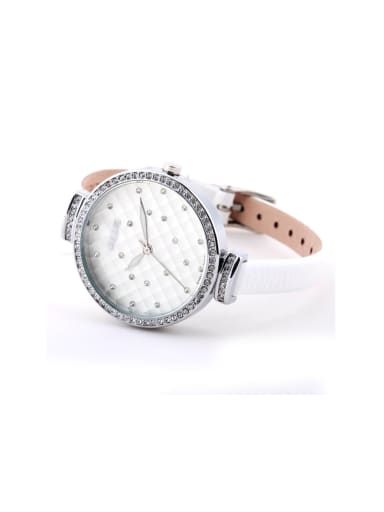 Model No 1000003304 Fashion White Alloy Japanese Quartz Round Genuine Leather Women's Watch 24-27.5mm