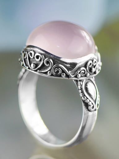 Mother's Initial Pink Band band ring with Gemstone