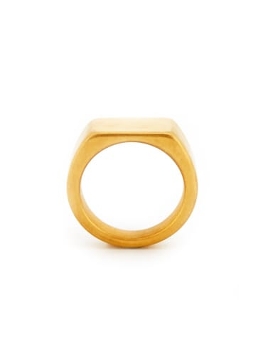 Fashion Gold Plated Titanium Square Band Signet Ring