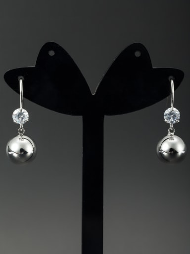White color Platinum Plated Round Diamond Drop drop Earring