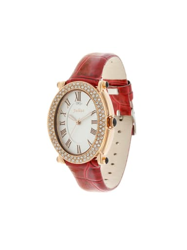 Model No 1000003279 24-27.5mm size Alloy Round style Genuine Leather Women's Watch